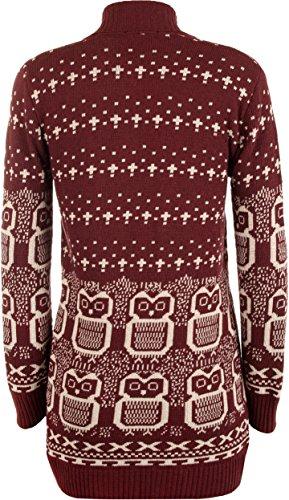 WearAll - Chouette imprimé gilet top tricoté ouvert avec manches longues - Hauts - Femmes - Tailles 36 à 42 Vin