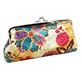 Sanwood Womens Coin Purse Flower Pouch Wallet Money Bag (Beige)