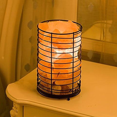 BBC Sel de fer himalayenne Salon créatif de la lumière des lampes de table Décoration chaleureuse et romantique chambre nuit lumières lumières de chevet, noir, interrupteur route