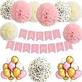 TopDeko Birthday Decorations Girls, Birthday Decorations Pink HAPPY BIRTHDAY Banner, 9Pcs Tissue Paper Pom PomFlowers, 30Pcs Balloons - Pink Gold