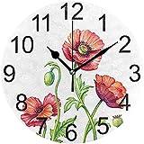 Katrine Store Bouquet de Coquelicots Ronds Horloge Murale Ronde À Piles sans Cocher Silicone Fleurs de Pavot Horloge Acrylique Quartz Horloges Décoratives