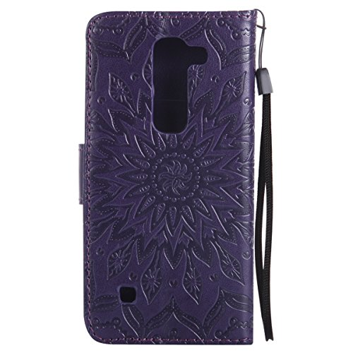 Coque Cuir Etui Pour LG K10,LG K10 Portable Coque Housse,Ekakashop Jolie Rose D'or Tournesol Painting Bookstyle Rabat Shell Silicone Etui Flip Cover Smart Case Housse de Protection Portefeuille à Ferm Pourpre