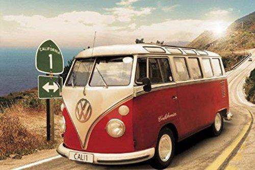 1art1 48814 Autos - VW Bus, Bulli, Kalifornien, Route One Poster (91 x 61 cm)
