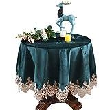 Dafa Tischdecken Leinen Baumwolle Kleine runde quadratische benutzerdefinierte Tischabdeckung Kaffee Schreibtisch Einfache Garten Kleine runde Tisch Cafe Volltonfarbe Antependium grün