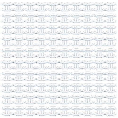 teenitor 100PCS Nähen Spulen, Kunststoff Nähmaschine Spulen, langlebig Top Load Nähgarn Spulen für Bruder Babylock Janome Kenmore Elna Singer Juki Stickerei Maschine, transparent (Bruder Nähmaschine Stickerei)