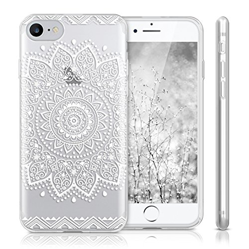 kwmobile Hülle für Apple iPhone 7 / 8 - TPU Silikon Backcover Case Handy Schutzhülle - Cover Metallic Rosegold Blume IMD Weiß Transparent