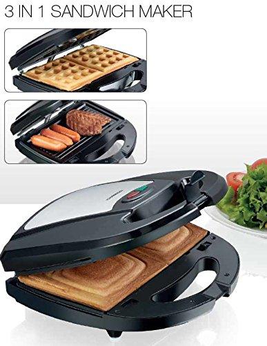 3in1 Kontakt-Grill, Waffel-Eisen und Sandwich-Maker Melissa 16240093 Multi-Toaster mit 3 Wechsel-Platten