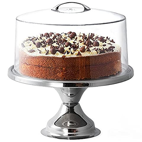 Stainless Steel Cake Stand and Metal Handle Cake Dome by
