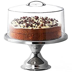 Stainless Steel Cake Stand and Metal Handle Cake Dome by dine@drinkstuff | 12 Inch Cake Stand | Cake Display for Cafes and Restaurants, Keep Your Cakes Fresh