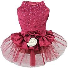 La Vogue Vestido de Perro Princesa Encaja para Verano Boda Fiesta Rojo Asia M(12)