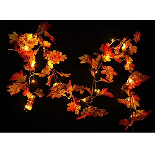 Prevently Halloween Lichterkette LED Halloween LED Ahornblatt Dekoration Rattan beleuchtet Herbst Herbst Kürbis Ahorn Blätter Garland Thanksgiving Decor, 1.5M (Halloween-kürbis Beleuchtete Dekoration)