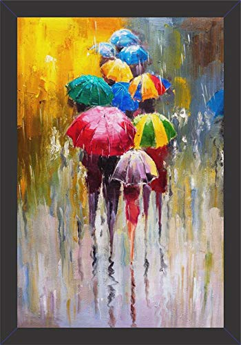 Mad Masters # Canvas Rainy Day. 1 Piece Wooden Framed Painting Wall Art Home Décor Painting Art Unique Design Attractive Frames.(UV Textured Print 19x13).