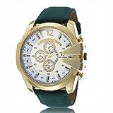 OrrOrr Retro Herren Braun Lederarmbanduhr Sportuhr Quartz Armbanduhr Weihnachtgeschenk White Gold Grün