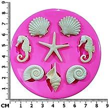 Costa de conchas de mar Estrella de mar y Seahorses molde de silicona para decoración de dulces para tartas forma de personajes de Frozen
