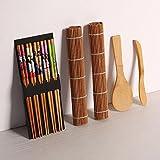 Kit de fabrication de sushi–9pièces, rigide de haute qualité en bambou, comprend 5x Baguettes Tapis de sushis, 2x, 1x Pagaie de riz, 1x Dissipateur de riz,% bambou Sushi Tapis et ustensiles.