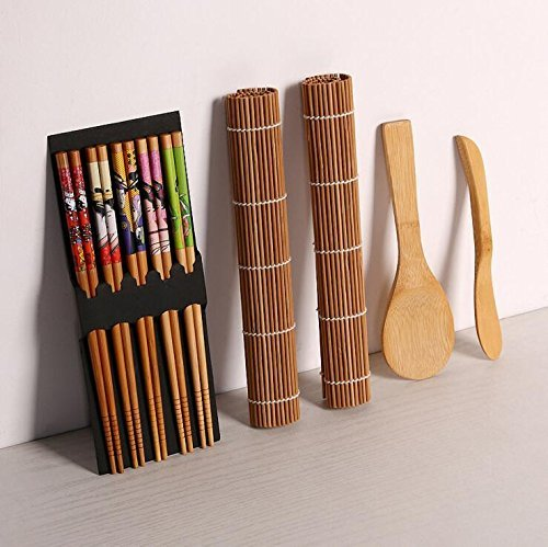 Sushi making kit–9pezzi, alta qualità di bambù, include 5x bacchette, 2x sushi rolling mats, 1x rice paddle, 1x rice spreader |100% bamboo sushi tappeti e utensili.