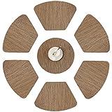 Furnily Tischsets für runden Tisch 6er-Set fächerförmige Küchen-Platzsets mit 1 runden, wärmeisolierenden, schmutzabweisenden Vinyl-Woven-Platzsets rutschfeste waschbare Tischsets für Esstisch (braun)