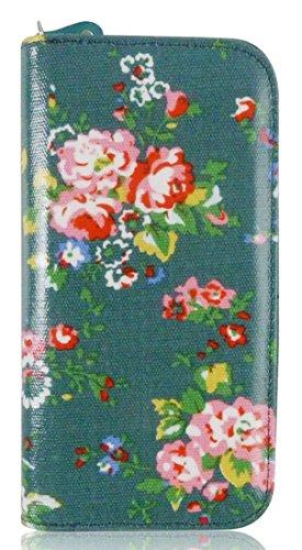Frizione Portafoglio Portamonete Grande Modello Di Kukubird Stampa Floreale Rose Green
