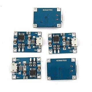 AUAUDATE 5 x 5V Micro USB Ladekabel Board Ladegerät Modul TP4056 für 1A Lithium Batterie