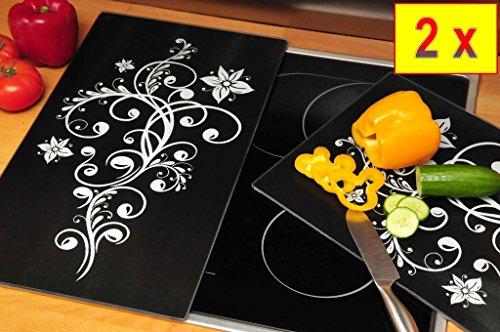 Herdabdeck-/Schneideplatte massiv, ca. 52 cm x 60 cm x 0,8 cm, 2-tlg. Set schwarz, Herdabdeckung + Spritzschutz Glas, Herdblende,Herdabdeckplatte für Elektroherd mit Ceran,Ceranfeld,Induktion Kochfeld - auch als Schneidebrett