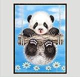 Diamond Painting Serie De Animales 5D Panda Stick Taladro De Punto De Cruz De Cubo De Rubik De Perforación Redonda De La Parte Del Palo Taladro 40X30Cm