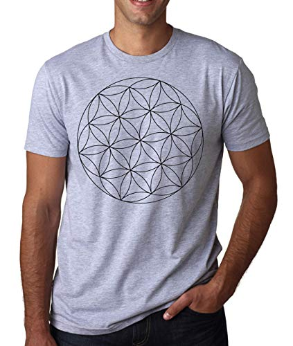 Merkaba Star Tetrahedron Flower of Life Symbol Hombres Camiseta Blanco Gris Negro Large
