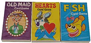 Kids Card games (Childrens games Hearts, Old Maid, Fish) 3 Pack