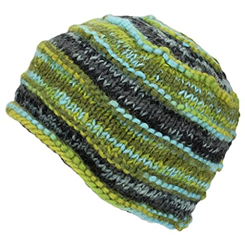 Green/Blue Wool Knit Space Dye Beanie Hat Ribbed