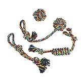 Vivifying Hundespielzeug Seil, 4er Pack Geflochtener Baumwolle Haustiere Seile Kauspielzeug für Welpen, Hunde, Katzen Zahnreinigung
