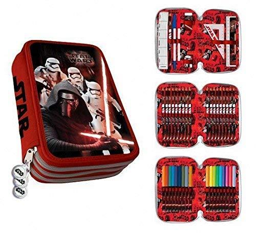Estuche Plumier 3 Cremalleras 3 Pisos Star Wars Kylo Ren y Stormtrooper Clamshell