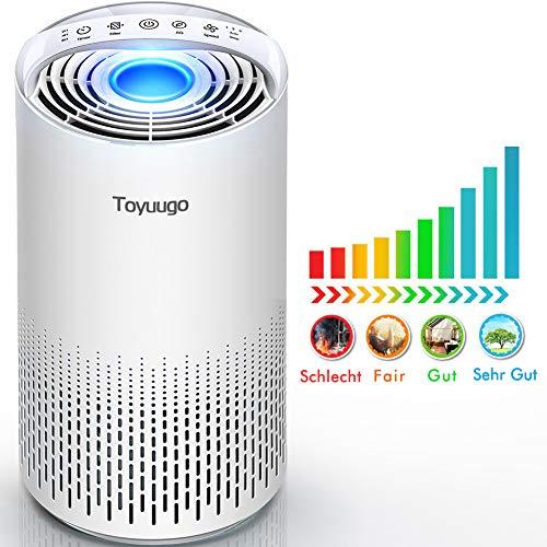 toyuugo Luftreiniger HEPA-Kombifilter Aktivkohlefilter Air Purifier mit Luftqualitätssensor, 3 Timer, 3 Geschwindigkeiten, Auto- und Schlafmodus Raumluftreiniger für Allergiker, Raucher