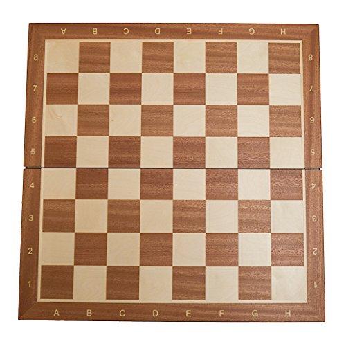 Preisvergleich Produktbild Schachbrett 'Brüssel' (FG 58), Intarsienarbeit, Turniergröße, mit Randbeschriftung, klappbar, Holz