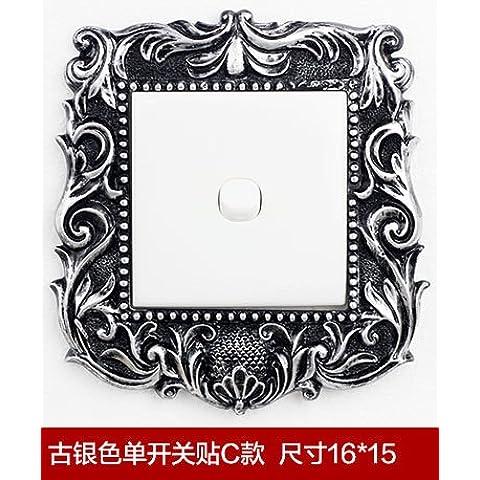 CAC Resina creativo interruttore luce adesivi Surround sticker murale,copertura interruttore,argento antico