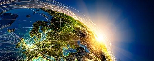Wallario Glasbild Erde im Weltall im Sonnenschein - 50 x 125 cm in Premium-Qualität: Brillante Farben, freischwebende Optik