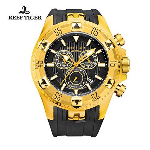 Reef Tiger da uomo sportivo con data giallo oro caso cronografo al quarzo RGA303