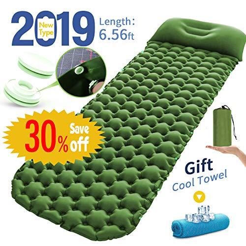 RioRand Aufblasbare Isomatte,Selbstaufblasbare Isomatte Luftmatratze Camping Matratze Schlafmatte mit Kissen und Schnallendesign für Outdoor Reisen und Wandern