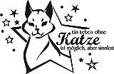 GRAZDesign 640087_50_070 Wandtattoo Spruch Ein Leben ohne Katze | Wandsticker für Wohnzimmer | Katzen Sprüche Katzenpfoten (77x50cm//070 schwarz)