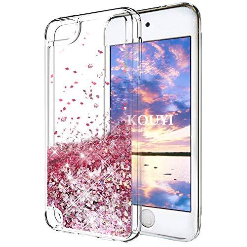 KOUYI iPod Touch 6 Hülle Glitzer, Luxus Fließen Flüssig Glitzer 3D Bling Dynamisch Silikon Weich Flexible TPU Kreativ Shiny Glitter Cover Beschützer für Apple iPod Touch 6 (Roségold) (Ipod-wasser)