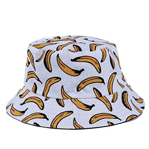 HYhy Funky Bucket Cap - Unisex-Bananen-Frucht-Print-Eimer-Hut Fishmen-Outdoor-Kappe, Weiß