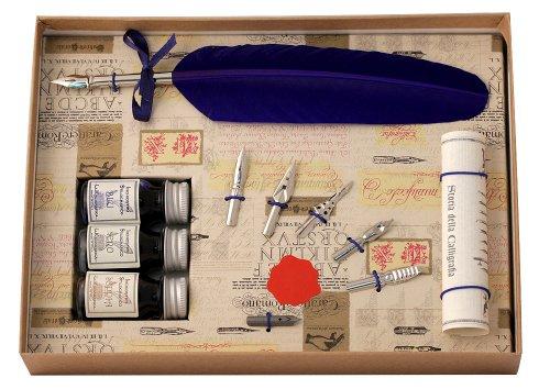 Coles Kalligraphie-Set mit Federkiel, 3Tintenfässern, 6Schreibfedern