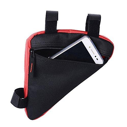 Eizur Fahrrad Rahmentasche Fronttasche Triangeltasche Dreieckstasche Radtaschen Werkzeugtasche Satteltasche Steuerrohr Taschen Fahrradtasche für Mountainbikes Fahrräder Rennräder MTB (Rot / Schwarz /  Rot