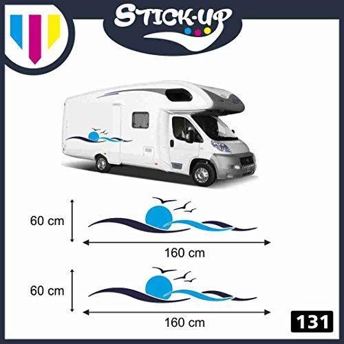 Kit de adhesivos para coche y autocaravana - 2 unidades - Ondas y gaviotas - 150 x 40 cm - Pegatinas para camper, caravanas, roulotte - Accesorios