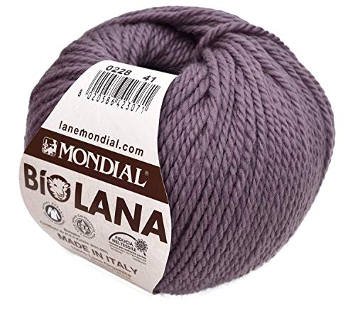 Lane Mondial Wolle BioLana Naturwolle Fb. 228 - Malve, 50g Biowolle, Reine Schurwolle zum Stricken und Häkeln