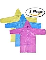 Paxcoo 3 piezas de impermeable portátil Poncho de lluvia con capós y mangas en 3 colores diferentes