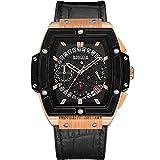 YGMDSL Armbanduhren Männer Quarzwerk Bewegung Freizeit Multifunktions Leuchtend Zeitliche Koordinierung Kalender,Brown