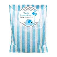 Baby shower party bags, baby elephant design & 60mm stickers, Blue, Pink or Yellow - packs of 24