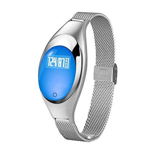 Kobwa 2017 Herzfrequenz Fitnessarmband, Pulsmesser+ Blutdruck Blut-Sauerstoff+ Schrittzähler Z18 Bluetooth Fitness Tracker, Aktivitätstracker für Android und IOS Smart Phones- Silber