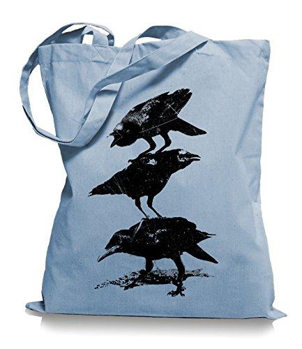 Ma2ca® Corvo Corvo - Borsa In Tessuto Sacchetto Di Juta Tote Bag / Bag Wm101 Skyblue
