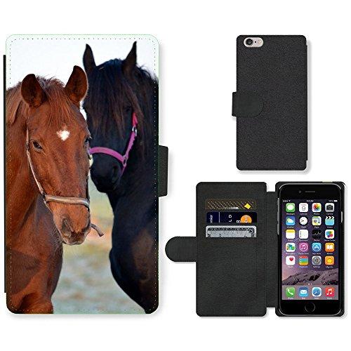 Just Mobile pour Hot Style Téléphone portable étui portefeuille en cuir PU avec fente pour carte//m00140341Chevaux Animaux Nature Mammifère Ride//Apple iPhone 6Plus 14cm