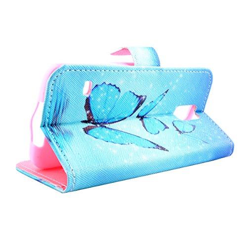 Für Samsung Galaxy S5/S5 Neo Brieftasche Ledertasche Handy Hülle,Für Samsung Galaxy S5/S5 Neo Durchsichtig Strass Funkeln Glitzer Strass Steine Bling Diamond Tragbar Schutztasche Flip Case,Herzzer Lux Schmetterlingsblau